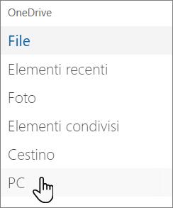 Riquadro di spostamento sinistro del portale OneDrive che mostra i PC