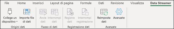 Scheda della barra multiFunzione di Excel Data Streamer