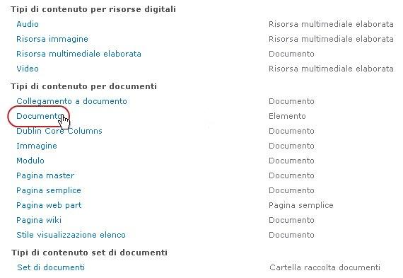 Tipi di contenuto per documenti con tipo evidenziato