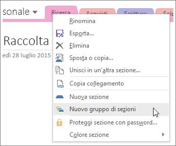 Screenshot che illustra come creare un nuovo gruppo di sezioni in OneNote 2016.