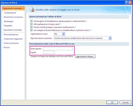 Opzioni di personalizzazione di Word 2007