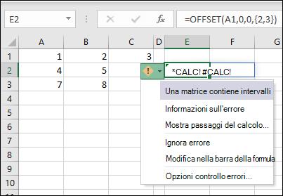 #CALC! Errore - matrice contiene intervalli