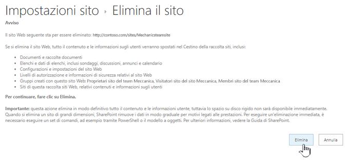Fare clic su Elimina se si è certi di voler eliminare il sito del team