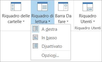 Opzioni del riquadro di lettura nella scheda Visualizza