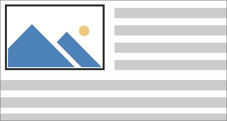 Testo disposto a destra e sotto un'immagine