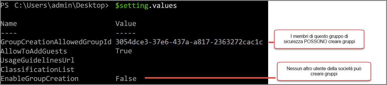 Oggetto impostazioni del gruppo con valore modificato