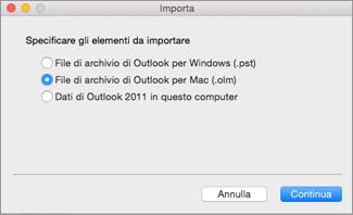 Importare un file di archivio come olm.