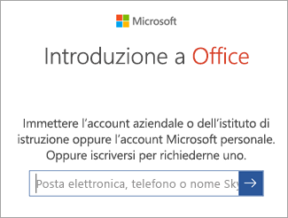Immettere l'indirizzo di posta elettronica dell'account Microsoft o l'account di Office 365