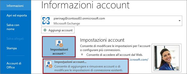 Impostazioni dell'account in Outlook