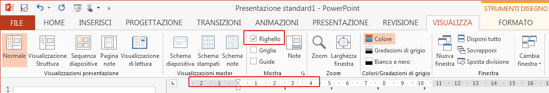 La casella di controllo Righello è nella scheda Visualizza.