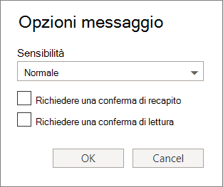 Schermata viene visualizzata la finestra di dialogo Opzioni messaggio, che mostra le opzioni per l'impostazione di un livello di riservatezza e la richiesta di un destinatario o conferma di lettura.