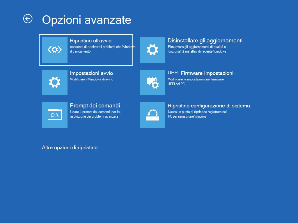 """Mostra la schermata """"Opzioni avanzate"""" con l'opzione """"Ripristino all'avvio"""" selezionata."""