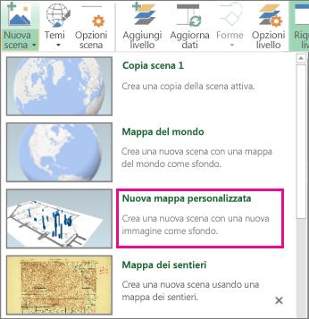 Pulsante Nuova mappa personalizzata nella nuova raccolta scene