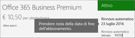 Screenshot che mostra un abbonamento attivo con il rinnovo automatico attivato Viene visualizzata la data di rinnovo automatico.
