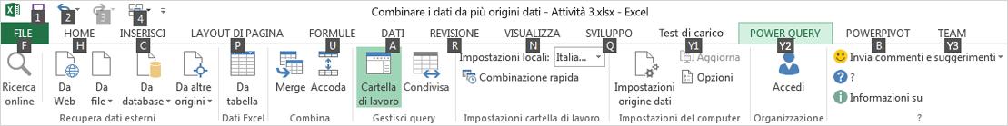 Suggerimenti tasti di scelta della barra multifunzione di Visualizzatore per i dati 2