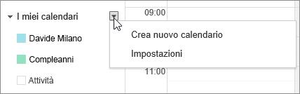 Scegliere I miei calendari e quindi Impostazioni