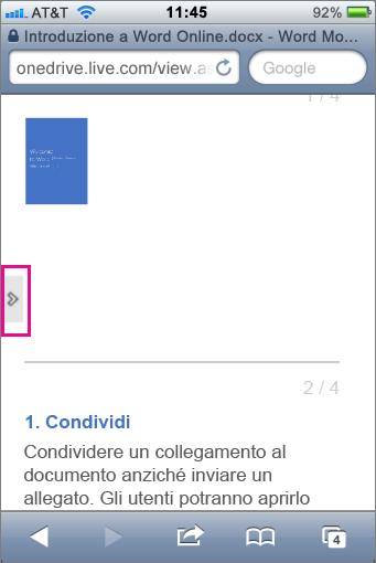 Toccare per aprire la barra degli strumenti nei visualizzatori per dispositivi mobili per Office
