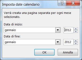 Impostare un nuovo mese nella finestra di dialogo Imposta date calendario.