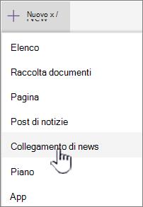 Selezionare collegamento notizie dal menu + nuovo