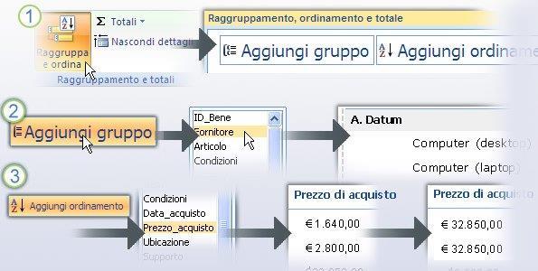 Raggruppamento e ordinamento dei dati in un report