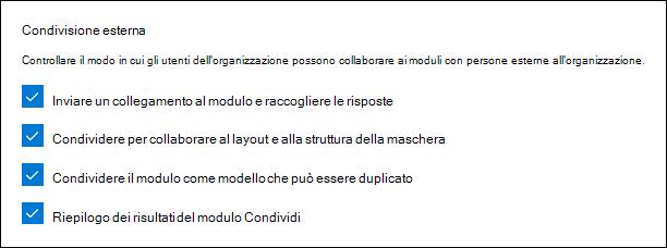 Impostazione dell'amministratore di Microsoft Forms per la condivisione esterna