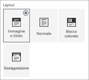 Opzioni per i layout di pagina