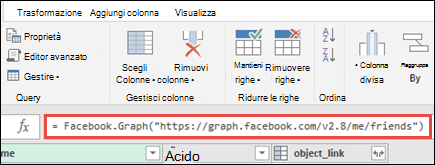 Editor di Query di Power con Facebook formula