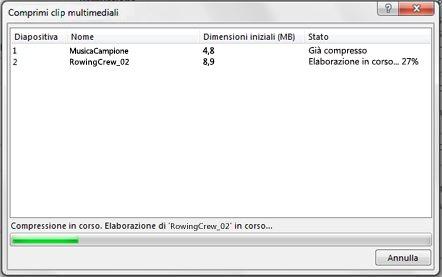 È in corso la compressione dei file multimediali