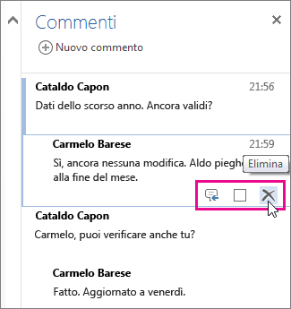 eliminare un commento di revisione in Word Online