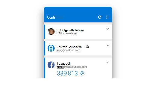 L'app Microsoft Authenticator che mostra diversi account.