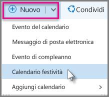 Aggiungere un nuovo calendario festività