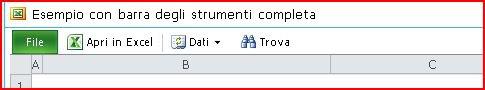 Barra degli strumenti di Excel Web Access con i pulsanti Apri, Dati, Trova e ?