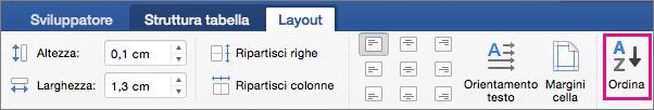 Scheda Layout tabella con l'opzione Ordina evidenziata.