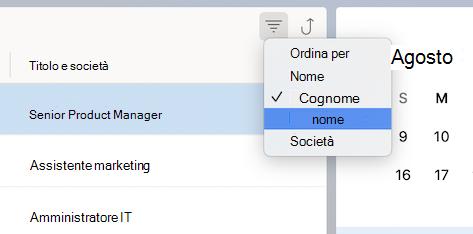 Ordinare in base al menu dei contatti