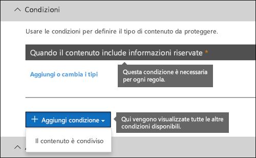 Elenco che mostra le condizioni disponibili per i criteri di prevenzione della perdita dei dati