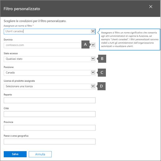 Condizioni per il filtro personalizzato