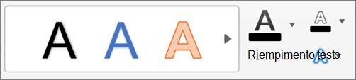 Fare clic su riempimento testo, contorno testo ed effetti testo