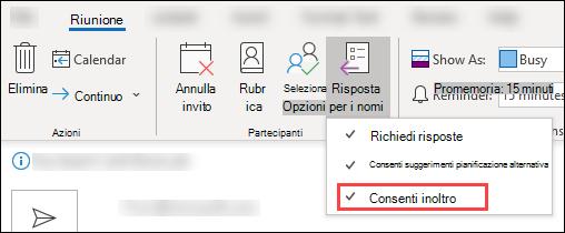 Usare la barra degli strumenti riunione per bloccare l'inoltro
