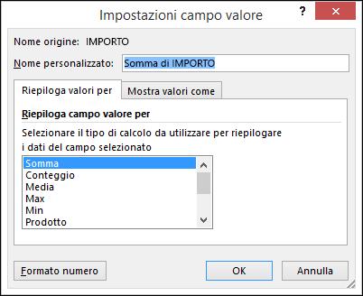 Finestra di dialogo Impostazioni campo valore di Excel con le opzioni Riepiloga valori per