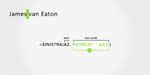Formula per separare un nome e un cognome in due parti