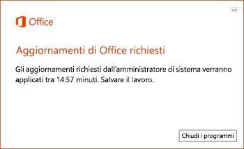 Notifica relativa alla scadenza di 15 minuti per gli aggiornamenti di Office