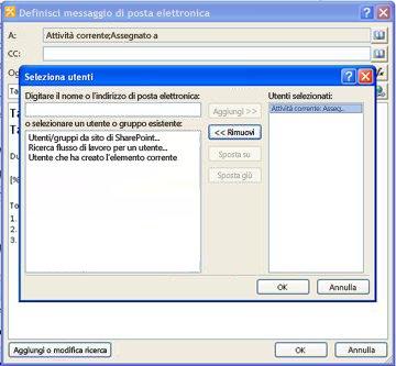 È possibile selezionare i destinatari per un messaggio di notifica di attività nella finestra di dialogo Seleziona utenti