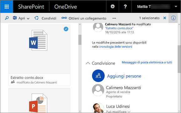 Screenshot che mostra il riquadro dei dettagli in OneDrive for Business in SharePoint Server 2016 con Feature Pack 1