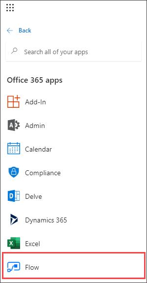 Screenshot dell'icona di avvio delle app in M365 con flusso evidenziato