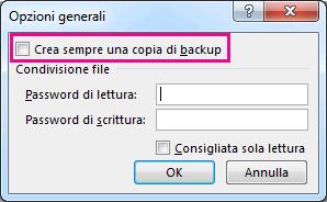 Opzione Crea sempre una copia di backup nella finestra di dialogo Opzioni generali