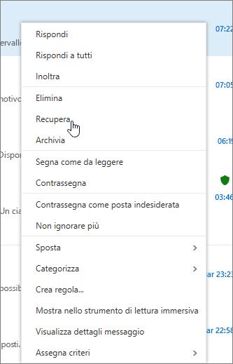 Una schermata mostra l'opzione Recupera selezionata dopo la selezione di un messaggio di posta elettronica nella cartella Posta eliminata.