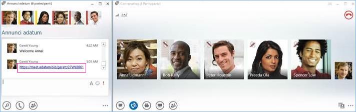 Schermata della conferenza telefonica dalla chat room
