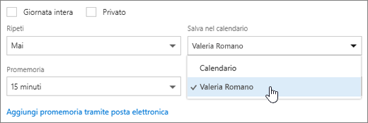 Screenshot del menu Salva nel calendario.