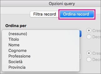 Fare clic su Ordina record per ordinare gli elementi nella stampa unione
