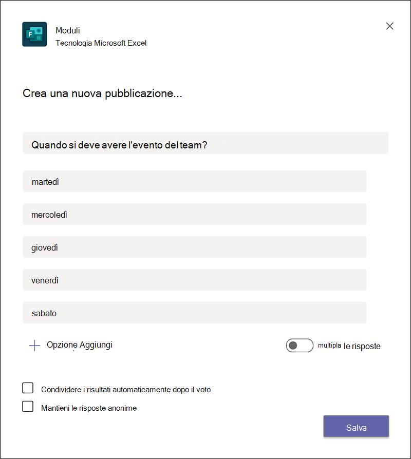 Creare un nuovo sondaggio in Microsoft teams.